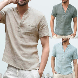 Men's Solid Color Fashion Loose Casual Linen Short-Sleeved Shirt