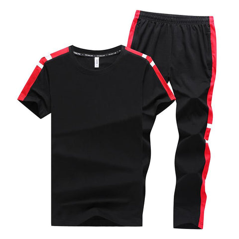 New Men's Round Neck Shorts Large Size Casual Sports Set