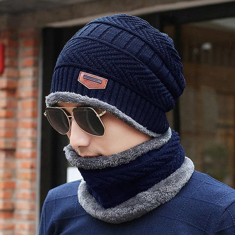Mens Velvet Knitted Beanie Hat Scarf Set