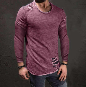 Fashion Round Collar Slim Plain Shirt