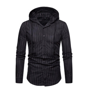 Mens Loose Cotton Blend Striped Hoodies