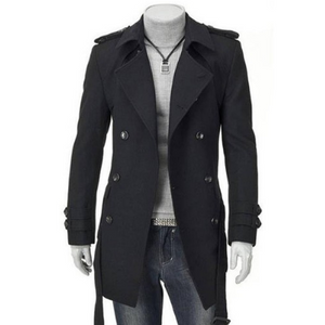 Casual Lapel Collar Plain Double Button Long Overcoat