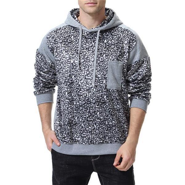 Casual Sport Stylish Loose Print Long Sleeve Men Hoodie Top