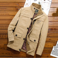 Solid Color Jacket Trench Coat