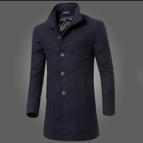 Fashion Simple Retro Gentleman Solid Color Long Woolen OverCoat