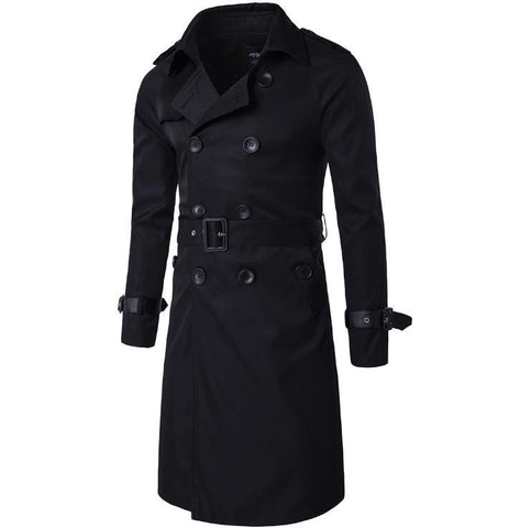 Men Long Double Breasted  Casual Overcoat