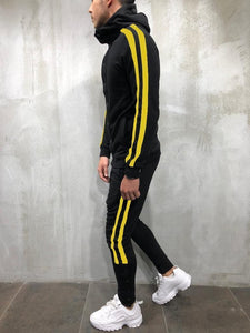 Fashion Mens Color Blocking Plain Zipper Coat Pants Suit