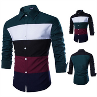 Men's Fashion Tri-Color Stitching Long-Sleeved Shirt