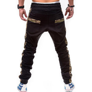 Fashion Men's Casual Plain Patchwork Long Pants