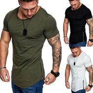 Casual Plain Zipper Men's T-Shirts