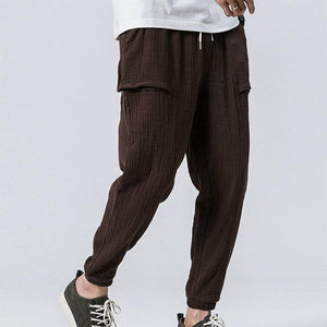 Men's Double Wrinkle Contrast   Color Casual Pants