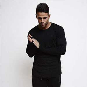 Casual Sports Long-Sleeved   Cotton Slim Men's T-Shirt