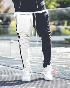 Men's Color Matching Color   Zipper Casual Pants