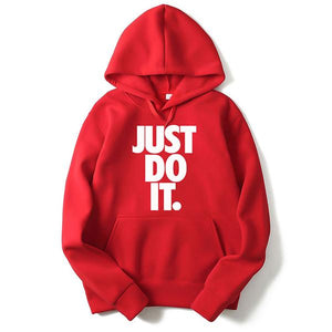 Sports JUST DO IT Printed Solid Color Hoodie