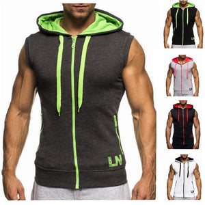 Contrast Sleeveless Zip-Up Hoodie
