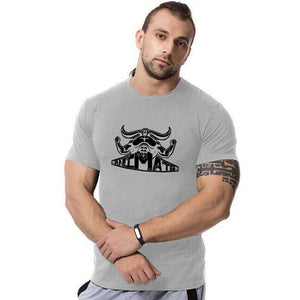 Fitness Cotton Large Size Muscle   Cow Print T-Shirt