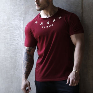 Casual Round Collar Letter Printed Slim Training T-Shirt