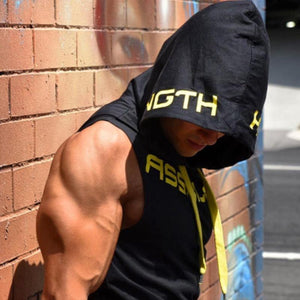 Fashion Fitness Print Sleeveless Hooded Vest