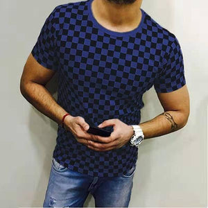 Men's Fashion Plaid Short Sleeve T-Shirt