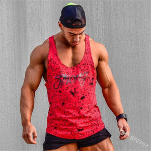 Men's Sports Vest Fitness Training Printed Loose Casual Top
