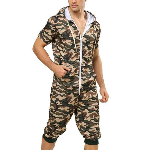 Men's Sports Casual Hooded Coveralls Camouflage Printed Jumpsuit