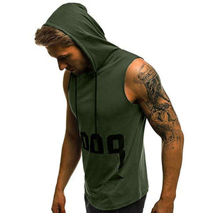 Men's Hooded Print Sleeveless Vest