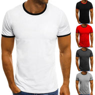 Round Neck Stitching Solid Color Short-Sleeved T-Shirt