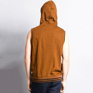 Men's Casual Solid Color Hooded Zippered Sleeveless Vest