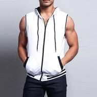 Solid Color Hooded Zippered Sleeveless Vest
