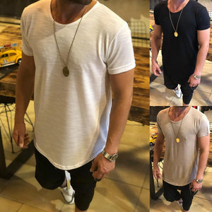 Summer Casual Men's T-Shirt Round Neck Solid Color Top