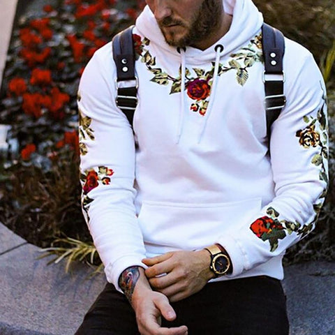 Fashion Flower Embroidery Hooded Sweatshirt