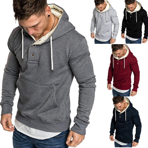 Fashion Pure Colour Fleece Button Hoodies