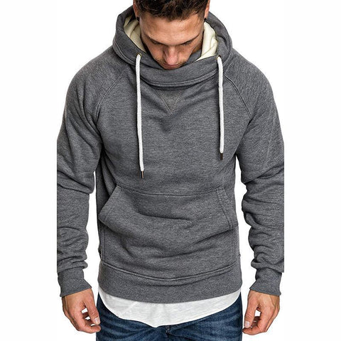 Fashion Pure Colour Stand Collar Hooded Hoodies