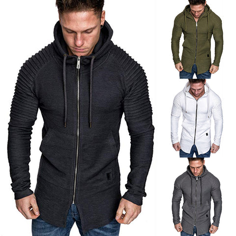 Men's Plus Size Fashion Casual Zipper Hooded Sweatshirt
