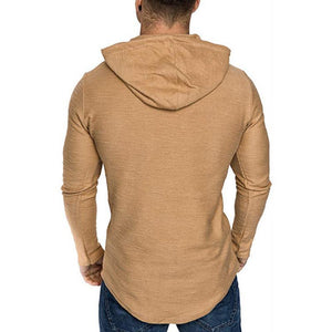New Fashion Solid Color Leather Irregular Hem Hooded Long-Sleeved T-Shirt