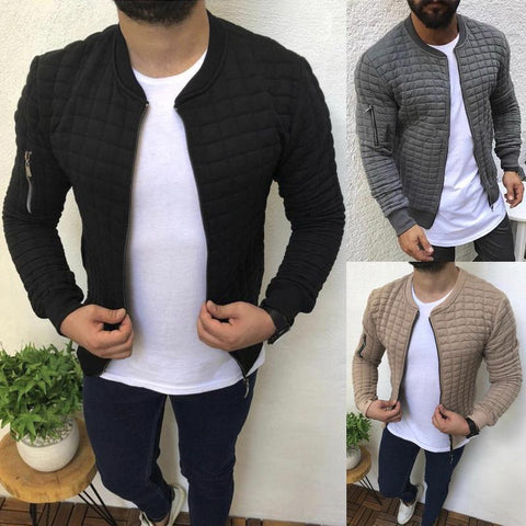 Casual Sports Zipper Design Check Jacket