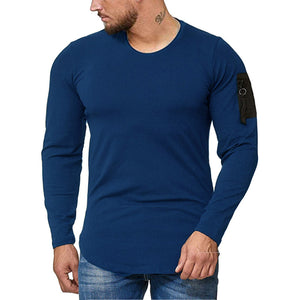 Men's Round Neck Long Sleeve Splice Casual T-Shirt.