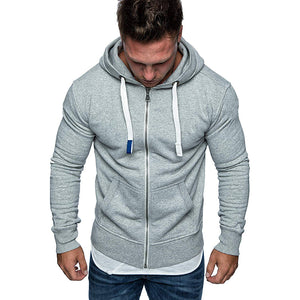 Casual Pure Colour Zipper Hooded Fleece Hoodies