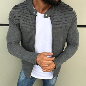 Men's Solid Color Striped Wrinkle Cutout Zip Jacket