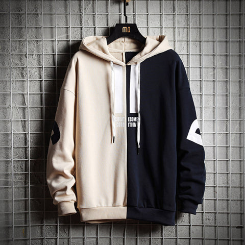 Color Block Loose Hooded Sweatshirts
