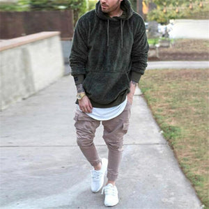 Solid Color Long Sleeve Pullover Hooded Sweater