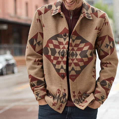 Fashion Geometric Print Lapels Jacket