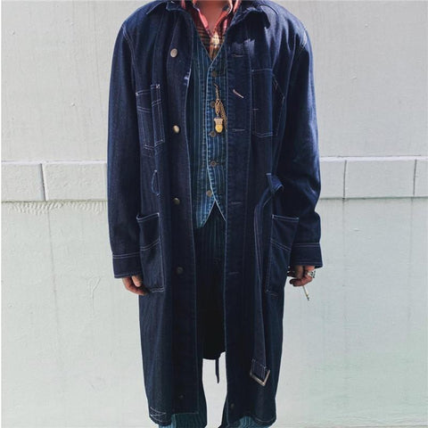 Men's Solid Color Denim Trench Coat