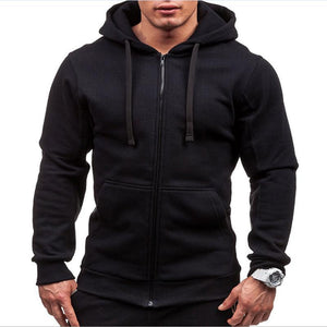 2018 New Casual Solid Color Zipper Hoodie