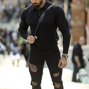 Men's POLO Shirt Long Sleeve Lapel Quick-Drying Fitness Leotard