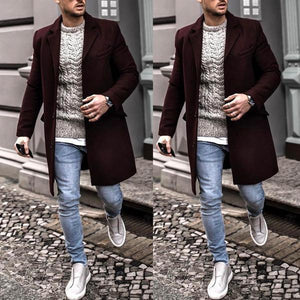 Lapel Solid Color Long Sleeve Woolen Coat