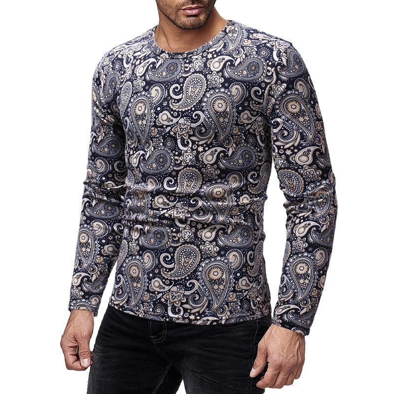 Men's Round Collar Petal Long Sleeve T-Shirt