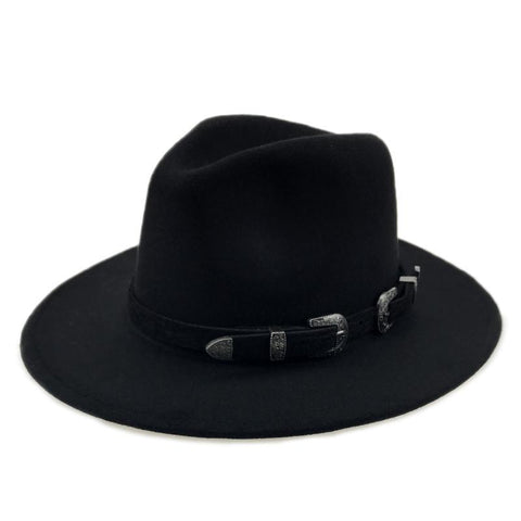 Fur Hat Retro Metal Belt Big Jazz Hat Felt Hat