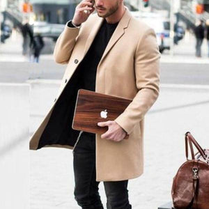 Solid Color Lapel Button Long Sleeve Overcoat
