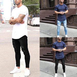 Men's Fashion Slim Hole Denim Pants